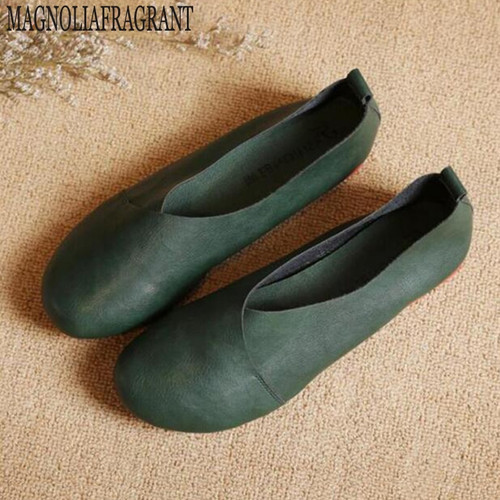 2017 Genuine Leather Flat Shoes Woman Hand-sewn Leather Loafers Cowhide Flexible Spring Casual Shoes Women Flats Women Shoes