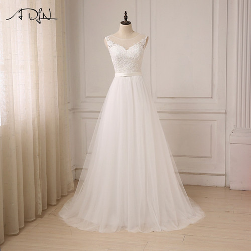 ADLN Cheap Lace Wedding Dress O-Neck Tulle Boho Beach Bridal Gown Bohemian Wedding Gowns Robe De Mariage In Stock