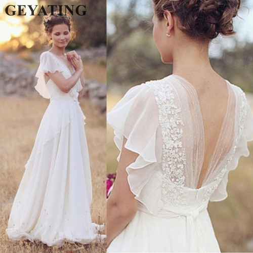 Bohemian Hippie Wedding Dresses 2018 Beach A-line Boho Wedding Dress Maternity Pregnant Bridal Gowns Backless White Lace Chiffon