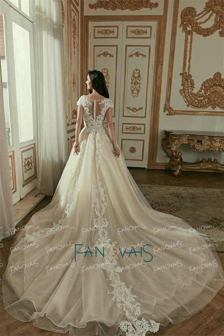 Vintage Champagne Wedding Dresses 2018 Cap Sleeve Ball Gown Wedding Gown Long Train Beaded Lace Bridal Gown Vestido de Novia WN4