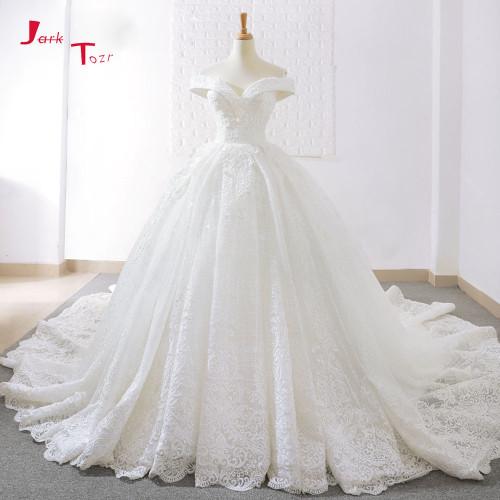 Jark Tozr 2018 New Arrive Off The Shoulder Short Sleeve Gorgeous Princess Ball Gown Wedding Dresses Vestidos De Noiva Princesa