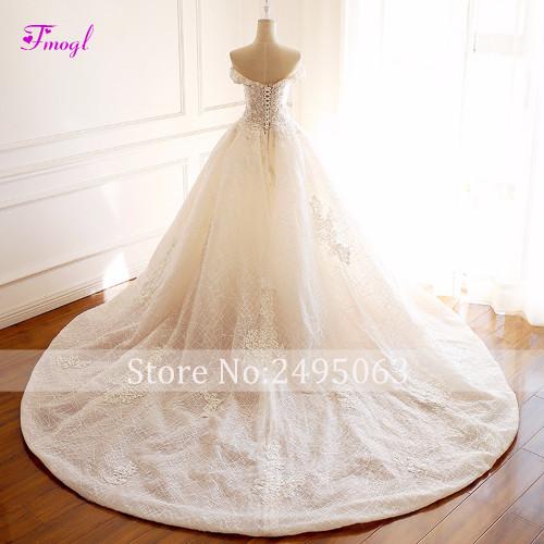 Fmogl Gorgeous Appliques Scoop Neck Lace Princess Wedding Dress 2018 Delicate Beaded A-Line Vintage Bridal Gown Vestido de Noiva