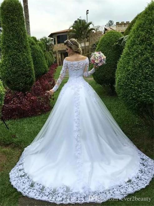 JIERUIZE Vintage Lace Appliques Ball Gown Wedding Dresses 2019 Off the Shoulder Long Sleeves Cheap Wedding Gowns Bridal Dresses