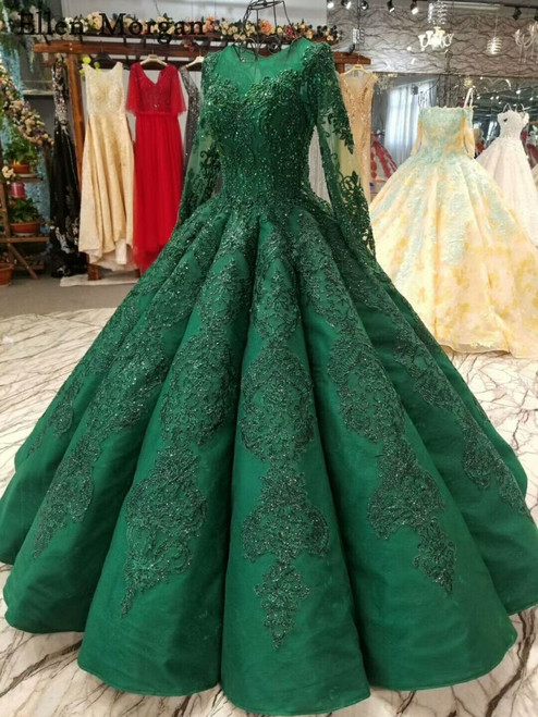 High Quality Green Ball Gowns Wedding Dresses 2018 Saudi Arabian Dubai Lace up Vintage Long Sleeves Muslim Bridal Gowns