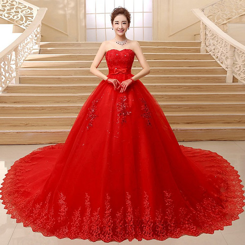 beautiful Vintage Lace Red Ball Gown Wedding Dresses 2018 New Detachable Long train Lace Appliques Bridal Gow estido De Noiva