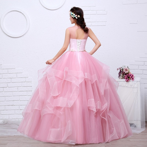 Free shippin Pink Color Yarn Girls Wedding dress 2017 New Fashion Simple Female Art Exam Gowns Part Dress Vestidos De Novia