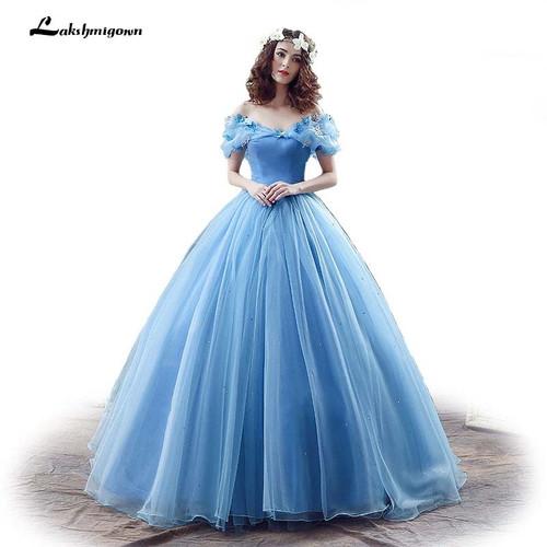 New Movie Deluxe Adult Cinderella Wedding Dresses Blue Cinderella Ball Gown Wedding Dress Bridal Dress 26240