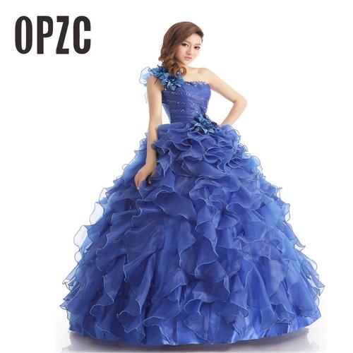Blue Color Strapless Beading Ruched Wedding dress 2018 Korean Female Art Exam Gowns Part Dress Vestidos De Novia