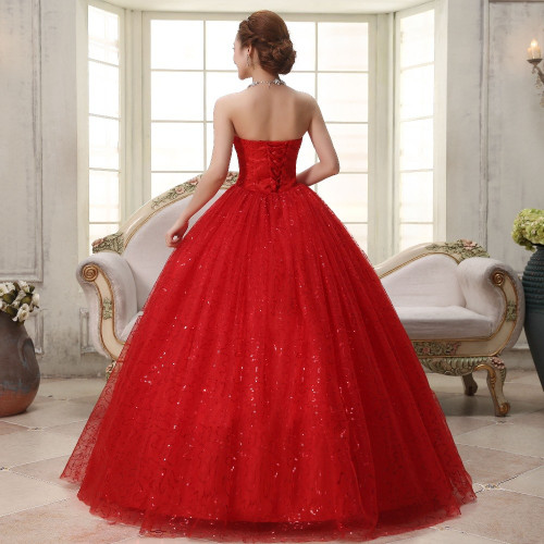 Real photo Customized 2017 Korean Style Sweet Romantic Classic Lace Red Princess Wedding Dress Strapless Mariage Wedding Gown
