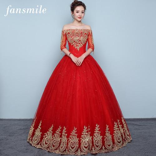 Fansmile 2018 Tulle Mariage Off Shoulder Vestido De Noiva Lace Ball Wedding Dress Custom-made Plus Size Bridal  Gowns FSM-417F