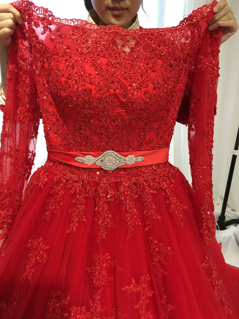 Long Sleeve Off Shoulder Red Wedding Dress vestido de noiva princesa
