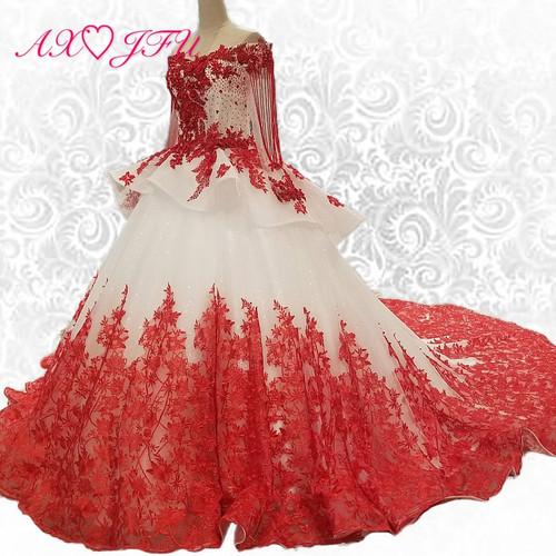 AXJFU white lace princess red flower beading crystal ruffles vintage wedding dress luxury long pearls wedding dress 05410