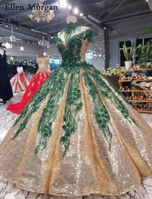 Puffy Gold Sequined Fabric Wedding Dresses 2018 with Dark Green Lace Off Shoulder Floor Length Princess Custom Made Bridal Gowns