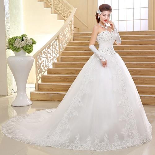 Real Photo Wedding Dress 2017 Korean style Luxury Long train with Crystal Bow Designer Wedding gowns Princess vestidos de noiva