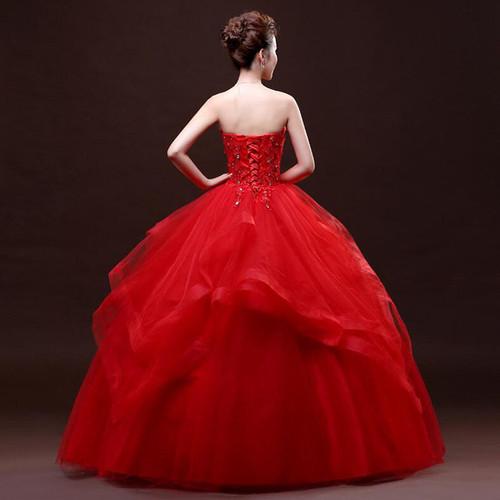 Real Photo vestido de noiva de Wedding Dress 2017 New Fashion Koreal Style Red Romantic Lace Appliques Princess bridal Ball Gown