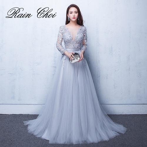 2019 Evening Dresses 3/4 Sleeves Appliques Silver Formal Gown Long Evening Party Dress vestido de festa