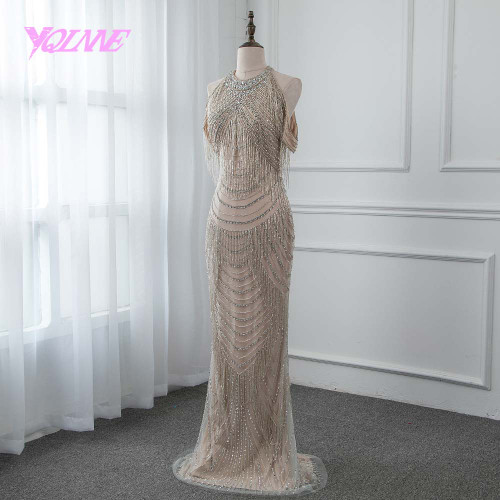 YQLNNE Gorgeous Rhinestones Evening Dress 2018 Long Mermaid Slit Back Prom Gown Vestido De Festa Pageant Dresses