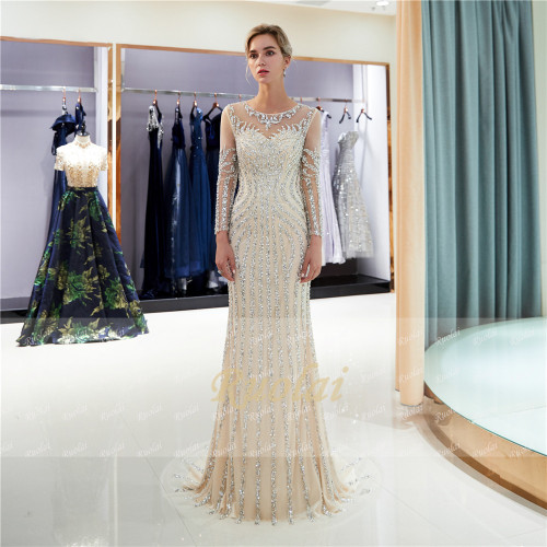 Luxury Beaded Evening Dresses Long Sleeves Scoop Mermaid Prom Dress 2019 Grey/Champagne Robe de Soiree SQ8