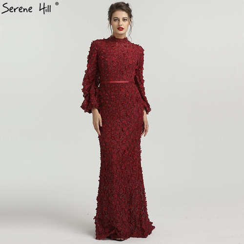 Flowers Pearls Long Sleeves Mermaid Evening Dresses Muslim Fashion Elegant Tulle Evening Gowns 2019 Serene Hill LA6293