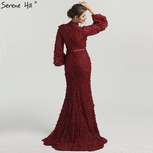 Flowers Pearls Long Sleeves Mermaid Evening Dresses Muslim Fashion Elegant Tulle Evening Gowns 2019 Serene Hill LA6293