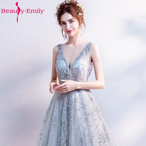Beauty Emily A Line Vintage Flower Evening Dresses 2018 Long Silver Sleeveless Floor Length Party Prom Dress Vestido De Noiva