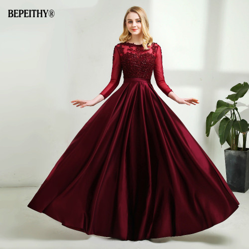 Robe De Soiree Long Sleeves Burgundry Long Evening Dresses 2018 Floor Length Vintage Lace Top Cheap Prom Dresses
