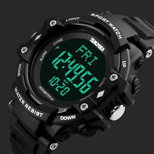 Men Sports Watches 3D Pedometer Heart Rate Monitor Calories Counter 50M Waterproof Digital LED Men's Wristwatches