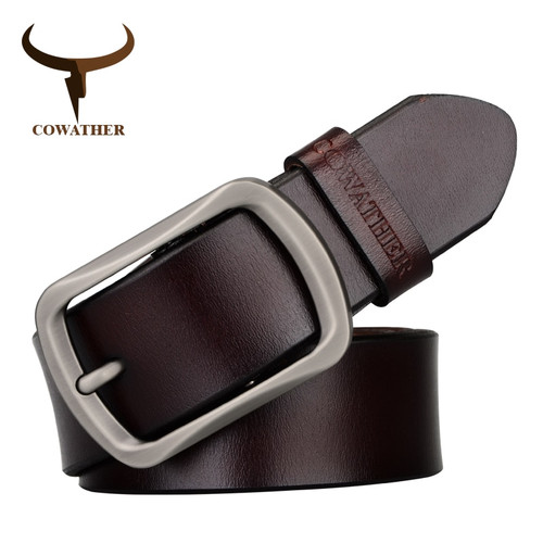 COWATHER brand classic men's cow genuine leather male dress pin buckle strap fashion adjustable black brown coffee gift wrap