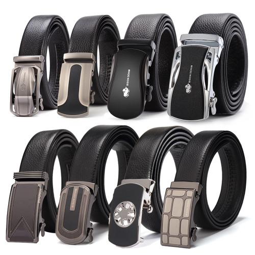 BISON DENIM Brand Men Belts Genuine Leather Real Cowskin Men's Belt Automatic Buckle Luxury Waistband Black DS007
