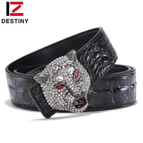 DESTINY Luxury Men Belt Famous Brand Designer Belts Male Genuine Leather Strap Waist Fashion Crocodile Gold Wolf Wedding Diamond