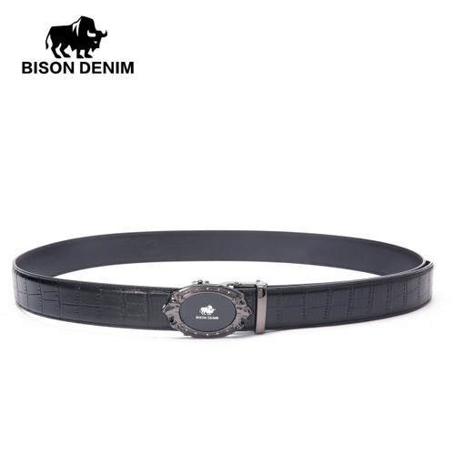BISON DENIM Brand Mens Belts Luxury Cowskin Leather Male Belt Genuine Leather Automatic Buckle High Quality Men's Belt N71348