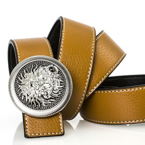 Brand Designer Leather Belts for Men Women Belt Diamond Lion Head Smooth Buckle Cowskin Genuine Leather High Quality Unisex Belt