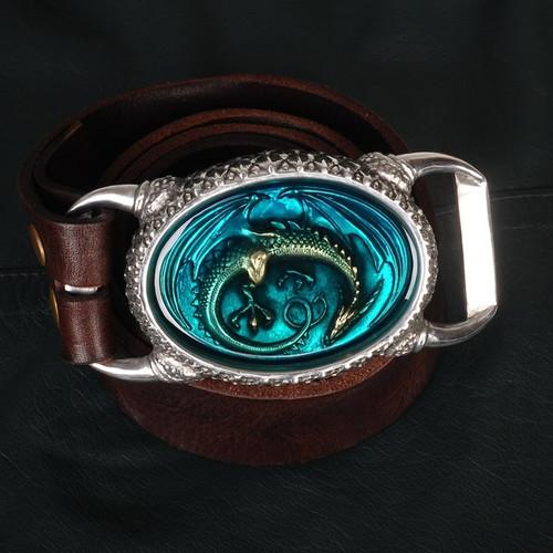 OGRM Handmade Tin Alloy Dragon Buckle Genuine Cowhide Leather Men's Belt Dragon Buckles Luxury Brand Men Belt Father Gift