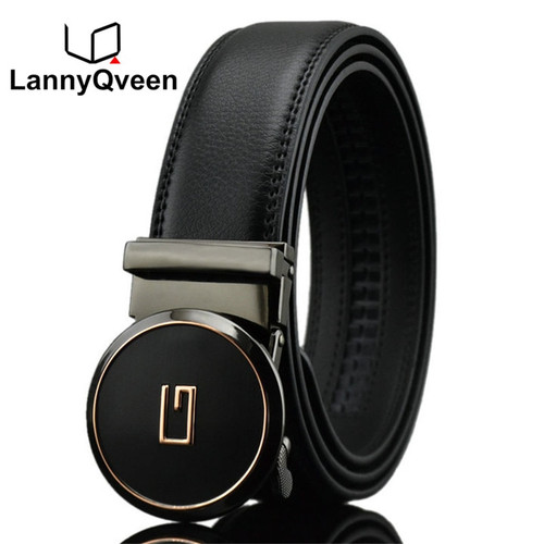 LannyQveen round buckle Men's Automatic buckle belt split cow Leather Belts for men good quality man fashion 1289 free shipping