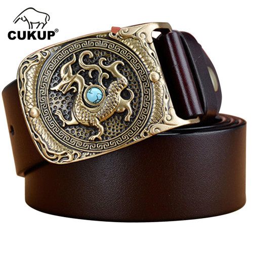 CUKUP Top Quality Cow Skin Leather Belt Novelty Chinese Animal Pattern Brass Smooth Buckle Metal Belts Men Packed in Box NCK382