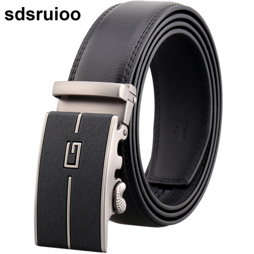 Fashion Leather Belts For Men Top Quality Automatic Alloy Buckle Male Strap G Design Waist Belt