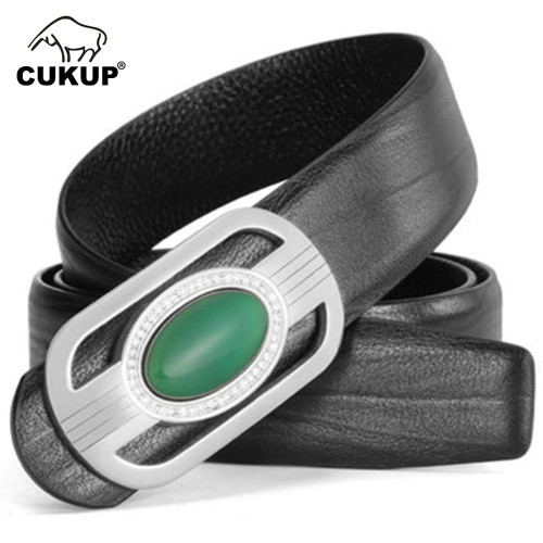 CUKUP Unique Design Real Jade Decorative Smooth Buckle Metal Belts Cow Cowskin Leather Belt for Men Jeans Accessories LUCK706