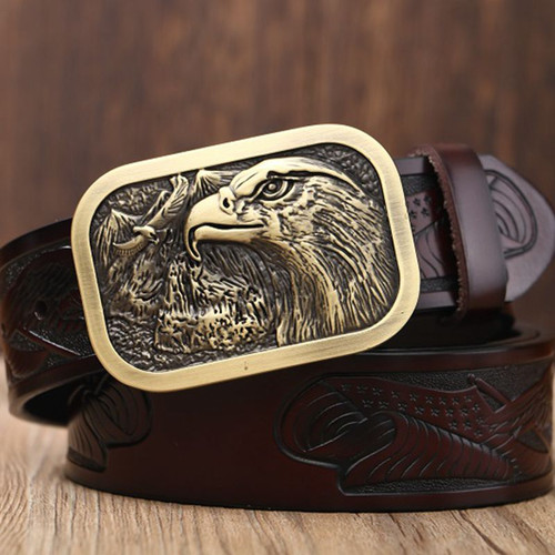 Boutique fashion belt high quality leather belts for men plate buckle punk style eagle model cowboy mens waist strap coffee