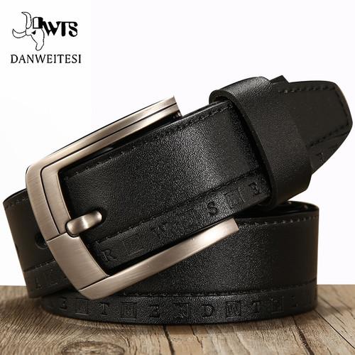 Men's belt 100% leather belt men male genuine leather strap luxury pin buckle casual men's belt Cummerbunds ceinture homme[DWTS]