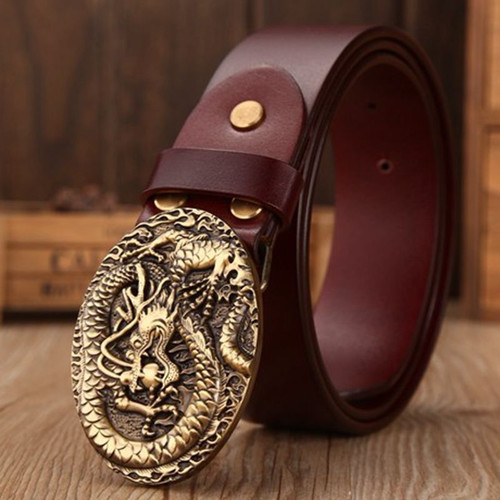 Brand luxury solid brass dragon elliptical buckle full grain leather belts men high quality belt size 130 cm coffee girdle jeans