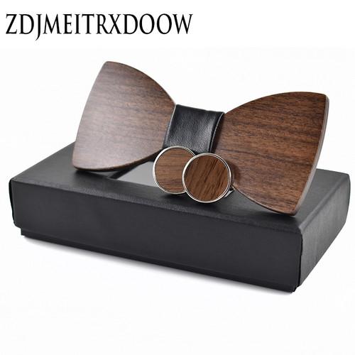 Fashion Wedding Wood Bow Tie Cufflinks Set Mens Suit Papillon Corbatas Tie gravata Pajaritas Hombre noeud papillon enfant