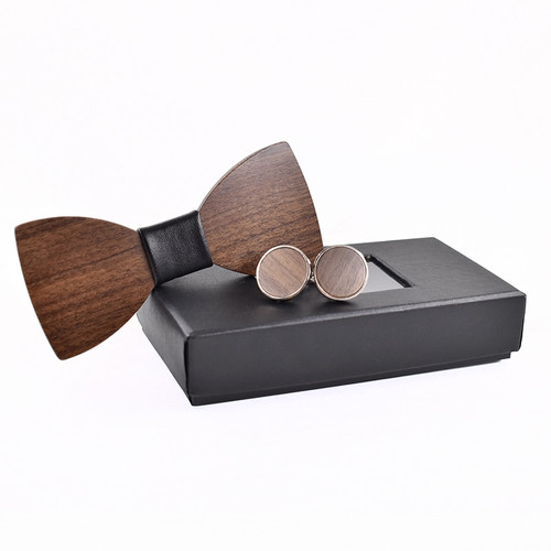 Fashion Wedding Wood Bow Tie Cufflinks Set Mens Suit Papillon Corbatas Tie gravata Pajaritas Hombre noeud papillon enfant