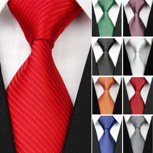 New Wide Silk Ties for Men Striped Solid 10cm Men's Neckties Business Red Wedding Suit Neck Tie Black White Blue Gravatas