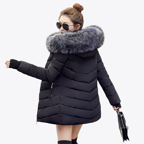 2020 Fashion winter jacket coat women Long thicken down cotton-padded faux big fur collar warm female Lady's outwear