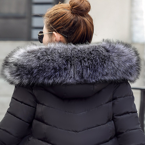 2017 Fashion winter jacket coat women Long thicken down cotton-padded faux big fur collar warm female Lady's outwear