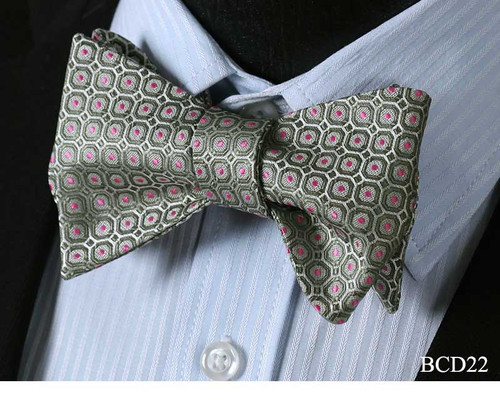 Check Dot Silk Wedding Self Tie Bowtie   #BCD2 Classic Woven Men Party Wedding