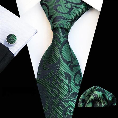 Fashion New Design Tie Set Business Men's Silk Floral Print Ties Mens Tie Set Dark Green Neckties Tie Pocket Square Cufflinks