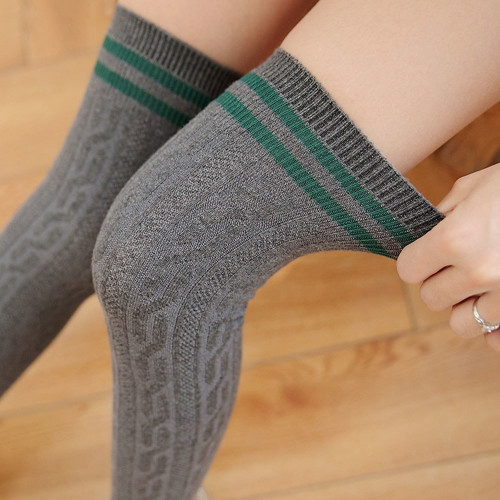 2018 Sexy Warm Long Stocking Fashion Striped Knee Socks Women Cotton Thigh High Over The Knee Stockings For Ladies