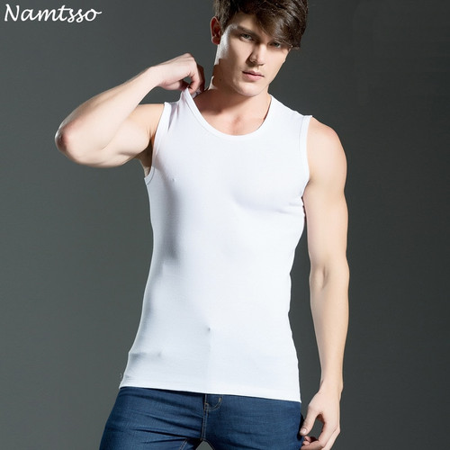 3 pcs Men all cotton Solid color seamless underwear clothing close-fitting broad shoulders V/O-neck vest comfortable undershirts