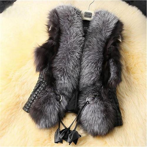 2016 Black Faux Fur Vest Warm Winter Fur Jacket Coats for Women Fashion Female Fur Vest CT041